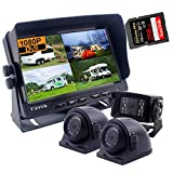 CAMNEX 7 inch Monitor 1080P HD Backup Camera System, HD DVR Recorder, Support 256GB SD Card, 4 Channel Input, Quad Split Screen, 1080P Rear & Side View Camera for Truck Trailer RV Fifth Wheel Caravan