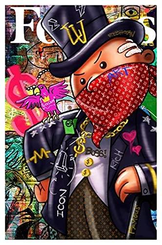 Konstverk Affisch Masked monopol Tid är pengar Väggkonst Kanvas Tryck Modern Målning Vägg Bild för vardagsrum Heminredning 20x28 inch Ingen ram