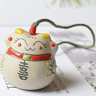 WiFndTu - 3 campanillas de viento de cerámica con diseño de gato de la suerte, diseño de gato de la suerte, para colgar en el coche, figuras de hadas con campana para buena suerte, cerámica, #3