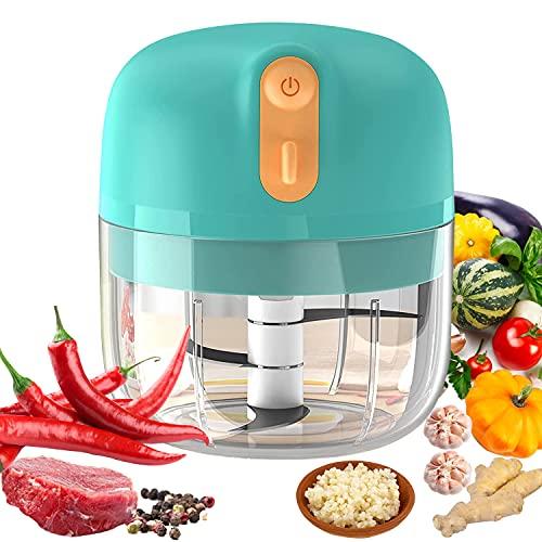 VOUM Mini picadora de ajo eléctrica, cortadora de Alimentos y picadora, licuadora de ajo portátil Mini picadora de Alimentos para ajo, Verduras, Frutas, Carne, cebollas (250 ml) (Blau)