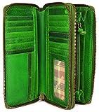 Hill Burry hochwertige XXL Vintage Leder Damen Geldbörse Portemonnaie langes Portmonee Geldbeutel Organizer aus weichem Leder mit extra vielen Fächern inkl. RFID in grün - 20x11x3,5cm (B x H x T)