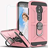 Moto E5 Play Case, Moto E5 Cruise Case with HD Screen Protector YmhxcY 360 Degree Rotating Ring Kickstand Holder Dual Layers of Shockproof Phone Case for Motorola Moto E5 Play-ZS Rose Gold