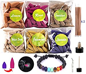 Backflow Incense Cones 180 Incense Cones 60 Incense Sticks 6 Mixed Fragrance Cone Incense Long Lasting Incense Cone with Chakra Bracelet,tweezer,Incense Holder,Fireproof mat