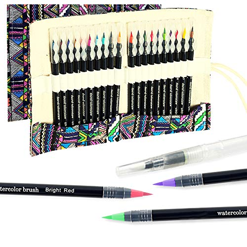 OOKU Watercolor Brush Pens - Acrylic Paint Set of 20 Pc | 23 Full Kit | Water-Based Watercolor Pens with Real Brush Nylon | Art Supplies Brush Markers for Adult Beginner Artist Painting Coloring