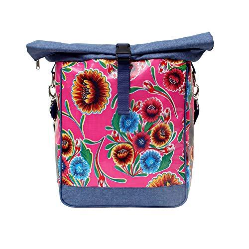 IKURI Fahrradtasche für Gepäckträger Einzeltasche Packtasche, abnehmbar, mit Klickfix Vario Haken, mit Tragegurt, aus Wachstuch, Damen, Wasserdicht, Modell Dulce Flor