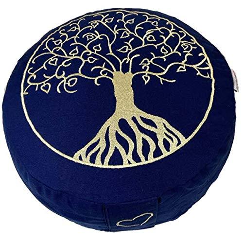 maylow - Yoga mit Herz ® Meditationskissen - Yogakissen mit Stickerei Baum des Lebens (blau)