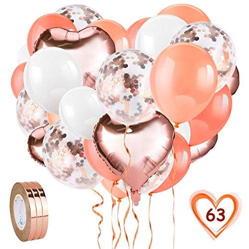 HOWAF Rosegold Luftballon Set, 60 Stück Rosegold Konfetti Luftballons Set, Folienballon & Latex Ballons mit Bändern für Geburtstag, Hochzeit, Babyparty, Dekoration, Valentinstag, JGA