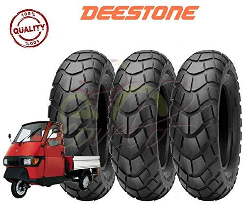 Deestone Set 3 Pneumatici 100/90-10 per Piaggio Ape 50, Moto, Scooter TASSELLATI RINFORZATI 8PR GOMME 61L COPERTONI TUBELESS