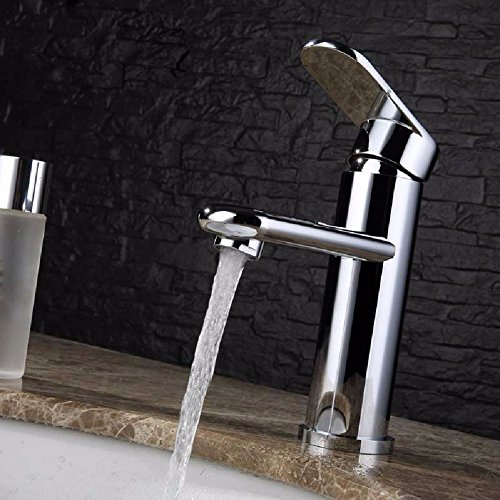 Buy Modern Simple Brass Constructed Polished Hot And Cold Basin Sink Faucet Bathroom Sink Faucet Cop...