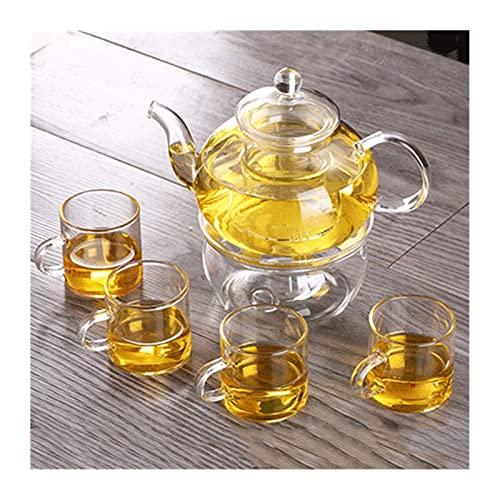 Peakfeng Tetera de Vidrio Resistente al Calor de la Tetera, Conjunto de té de Hierbas, Tetera de Flores con Filtro, Tetera Engrosada de Gran Capacidad