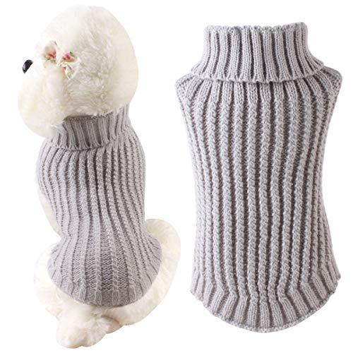 puseky huisdier hond trui mode coltrui breien trui breigoed puppy haak kleding, L, Grijs