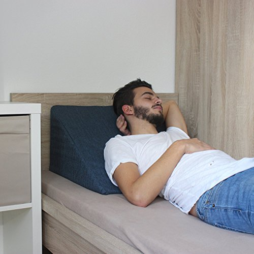 Cuneo da letto, sostegno per la schiena per letto e divano / cuscino per la TV e da lettura; misure 60cm X 50cm, altezza 30cm - Blu