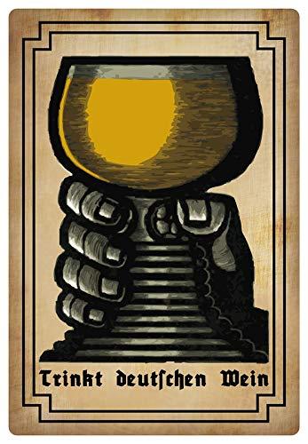 Metalen bord 20 x 30 cm drinkt Duitse wijn metalen bord