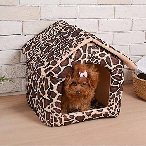 Tuzi Qiuge Pet Supplies, Nette Hundehütte Haus, Katzenhaus, Faltbar Maschinenwaschbar Katzenbett, Warm Und Weich Haustier-Haus Mit Rutschfestem Boden, Größe: L, 37 * 43 * 43cm (Color : Color1)