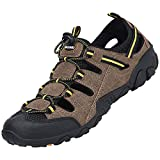 SAGUARO Donna Sandali da Escursionismo Confortevole Sandali in Pelle da Uomo Scarpe da Spiaggia per Gli Sport Uomini Sandali Chiuso Impermeabile, Marrone 42