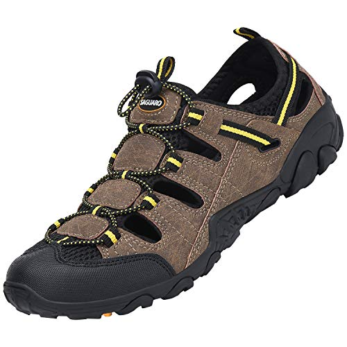 SAGUARO Verano Sandalias de Senderismo Hombre Mujer Sandalias de Deportivas Transpirable Zapatos de Trekking Montaña Playa Antideslizante, Marrón 44