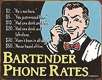 バーテンダーの電話料金ティンサイン