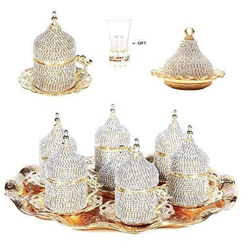 Alisveristime 27 Pc Turkish Greek Arabic Coffee Espresso Cup Saucer Crystal Set (Gold)