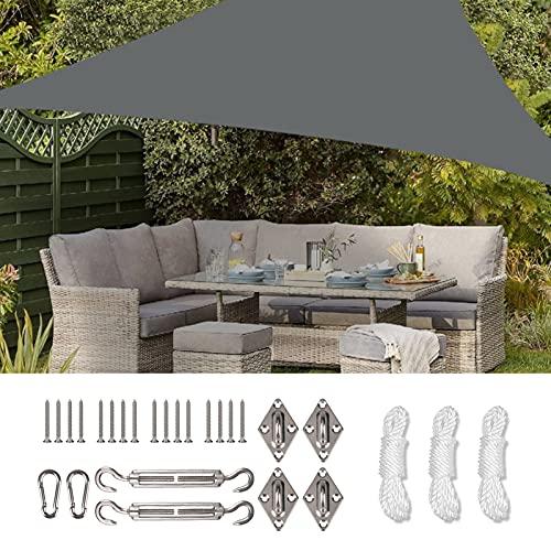 LAUNDRY POUCH Wasserdichtes Sonnensegel mit Hardware-Kit, Dreieck, 1,8 m x 1,8 m x 1,8 m, UV-Block-Überdachung für Terrasse, Hinterhof, Rasen, Garten, Outdoor-Aktivitäten (grau)