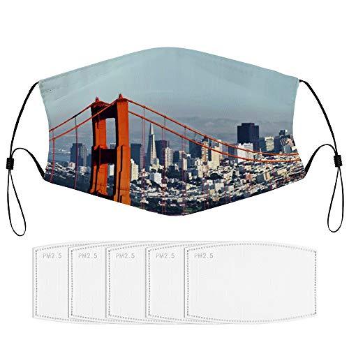 RugzT San Francisco Downtown and Golden Gate BridgeGesichtsdekoration mit Filterkern, Wiederverwendbare, staubdichte Gesichtsdekoration (mehrere Filterkerne), für Erwachsene neutral