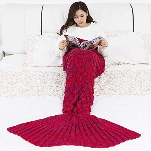 #N/V Manta de sirena hecha a mano de punto para dormir envolvente de TV sofá cola de sirena manta para niños adultos bebé ganchillo bolsa de ropa de cama mantas bolsa