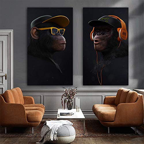 Grote dierfoto, canvas, bedrukt, modern, grappig masker, aap, kunstdruk, muurschildering, kunstdruk, voor woonkamer 60*110cm E