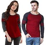 Veirdo Men's & Women's Regular Fit T-Shirt (Pack of 2) (TSH_33MRN_Girl-XXL/Boy-XXL_Maroon_XX-Large)