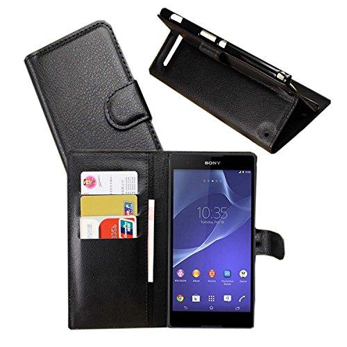 Guran® Ledertasche Tasche für Sony Xperia T2 Ultra (6,0 Zoll) Smartphone Flip Cover Standing Funktion & Kartensteckplatz Handytasche Wallet Hülle