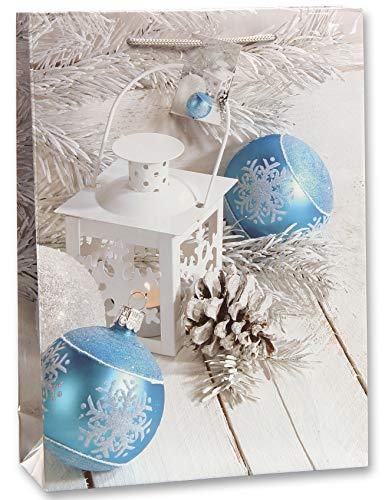Bambelaa! 12 Stück Geschenktüten Weihnachten Geschenktaschen Groß Papiertüten Weihnachtstüten 157 g Papier Weiß Blau Glänzend (Ca. 25x8,5x34 cm)