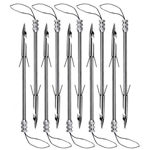 Obert 10 Stück Edelstahl Schleuder Kugelschrot Speer Widerhaken Pfeilspitze Angeln Harpune Jagd Werkzeug für Armbrust Schleuder Angeln