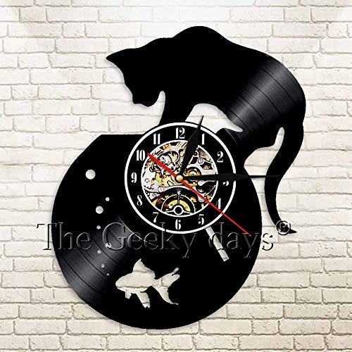UIOLK Gato Negro pecera decoración Reloj de Pared Disco de Vinilo Grabado Reloj de Pared Animal luz LED Regalo para niños decoración del hogar