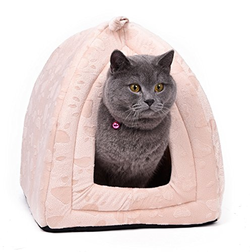 OHANA Maison Niche pour Chien Chat avec Coussin Amovible, Dôme Chat Pliable et Confortable 40 * 32 * 32cm Beige