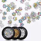 Sethexy 3D Weihnachten Schneeflocke Nail Art Zubehör Gold Metallbolzen DIY Pailletten Funkeln Legierung für Kunst Nägel Design (3 Kisten)