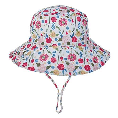 Hawiton Baby Sonnenhut UV Schutz Kleinkind Fisherhut Sommermütze mit Kinnriemen Baumwolle Nackenschutz Hut (Blumen, S)