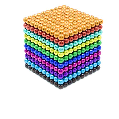 Qqwe Magnetic Balls 1000 PCS 3 MM Rainbow Creative Magnet Toys Set Rare Earth Powerful Beads Desktop Sculpture with Endless Shapes