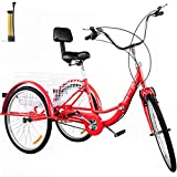 Bkisy Tricycle Adult 24'' Wheels Adult Tricycle 1-Speed 3 Wheel Bikes White for Adults Three Wheel Bike for Adults Adult Trike Adult Folding Tricycle Foldable 3 Wheel Bike for Adults (red)