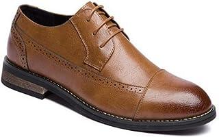 [PIRN] メンズ靴 ビジネスシューズ レースアップ 通気快適 オールシーズン 就活 通勤 普段用 春 新しい 男性 レトロ イギリス カジュアルシューズ ビジネス ドレスシューズ レザーシューズ ブロック彫刻 プレーントゥ 紳士靴