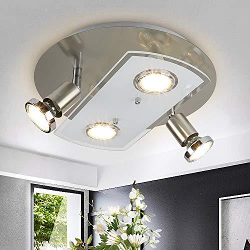 Depuley LED Deckenstrahler 4 Flammig, Schwenkbar LED Deckenleuchte, 4x5W GU10 LED Leuchtmittel, ø290mm Rund Deckenlampe, 1600LM 3000K Warmweiß, Modern LED Deckenspot für Wohnzimmer küche Schlafzimmer