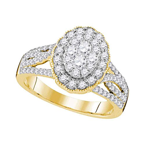 10k Yellow Gold Oval Cluster Diamond Engagement Ring Bridal Illusion Set Band Round Pave Set 1.00 ctw Size 5