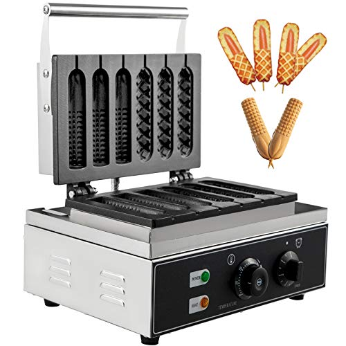 VBENLEM 110V Commercial Lolly Waffles Maker 6 Grid Nonstick 1550W Electric French Muffin Machine Temperature 50-300 ℃ Timer 0-5 min Stainless Steel Sausage Crispy Hot Dog, Sliver