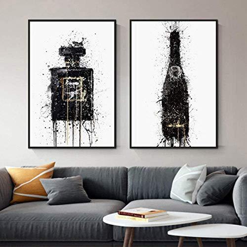 ParfüM Flasche Poster Und Kunstdrucke Mode Leinwand Bild Champagner Vogue Schwarz Weiß Wand Bilder Bild Wohnzimmer Moderne Wohnkultur Rahmenlos