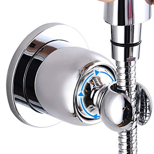 Crushmet Handbrause Halterung Ohne Bohren für Duschkopf, Super Power Kleber Brausehalter für Handbrause Badezimmer Badewanne, 360° Winkel Verstellbar Duschhalterung Brausehalterung, Verchromt