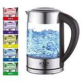 Glas Wasserkocher Edelstahl mit Temperaturwahl, Teekocher, 100% BPA FREI,  Warmhaltefunktion, LED...