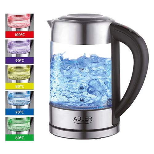 Glas Wasserkocher Edelstahl mit Temperaturwahl, Teekocher, 100% BPA FREI,  Warmhaltefunktion, LED Beleuchtung im Farbwechsel, Temperatureinstellung (60°C-100°C), Glaswasserkocher 1,7 Liter
