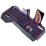 Teclado para juegos con teclado para videojuegos con retroiluminación con cable ergonómico para teclado Gamer Keyboard para tablet Desktop 847 (color: negro)