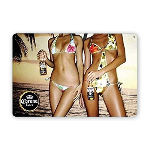 Sexy Bikini Girl Corona Retro Metal Tin Signs, Vintage Style Sign Wall Plaque Art Decoration Mural Funny Gifts for Cafes Bar Pub Beer Club Wall Home Decor 12x8 Inches