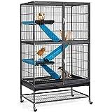 Yaheetech Jaula para Hurones Grande Jaulas de Tres Pisos para Hamster Chinchilla con Ruedas Negro 78x51x137cm