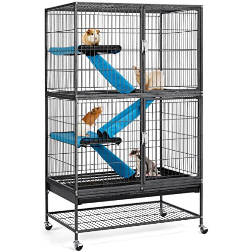 Yaheetech Kleintierkäfig, Metallkäfig für kleine Haustiere, Kaninchenstall mit 4 Räder, Käfig mit 2 abnehmbaren Rampen & Plattformen