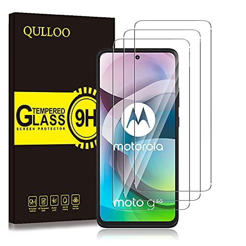 QULLOO Protector de Pantalla para Motorola Moto G 5G, Cristal Templado [9H Dureza] [Anti-Huella] HD Film Cristal Templado para Motorola Moto G 5G (3 Piezas)