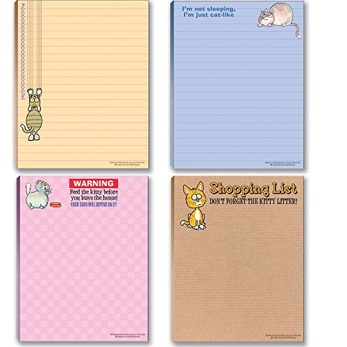 Funny Cat Theme Pads - Assortment #2-4 Assorted Kitty Note Pads - Cat Gifts for cat Lovers